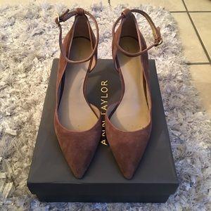 Ann Taylor brown suede heels